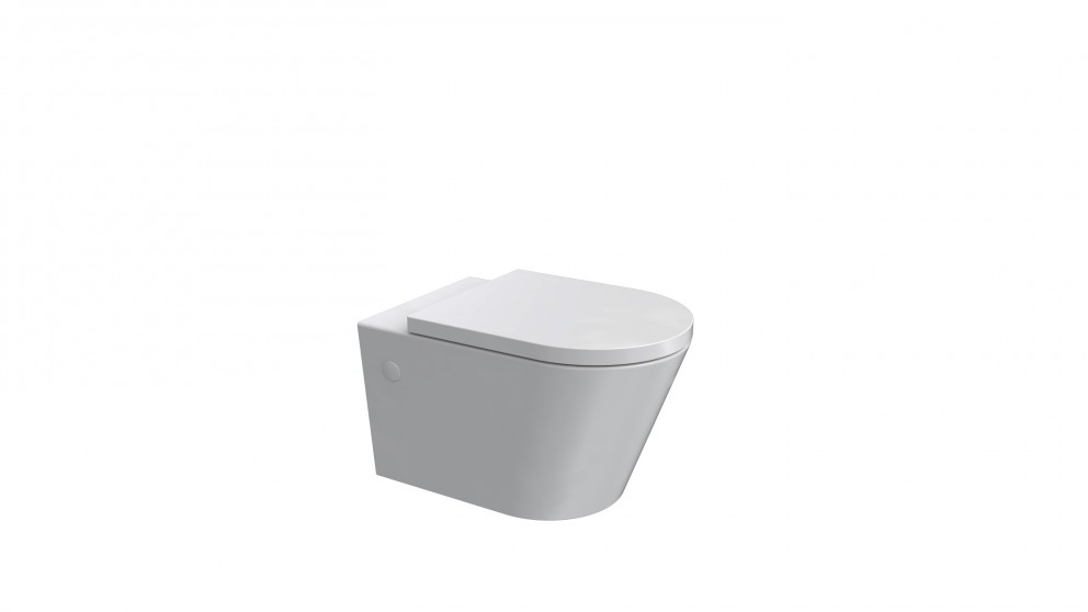 Parisi Linfa Rimless Wall Hung Toilet Suite with Twin Button White Glass Flush Plate