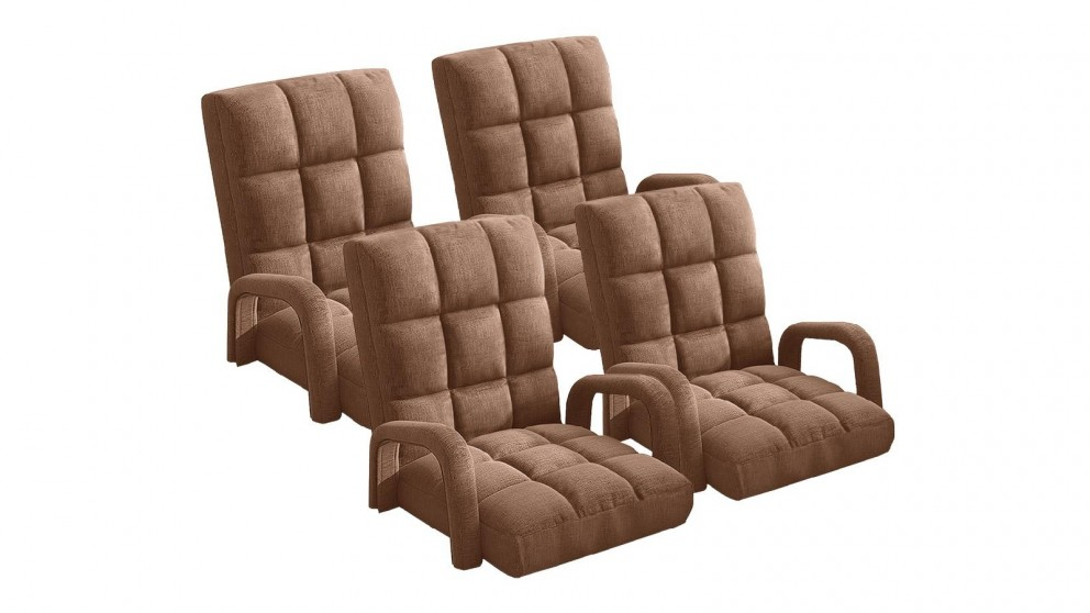 Soga 4X Floor Recliner Lazy Chair with Armrest - Coffee
