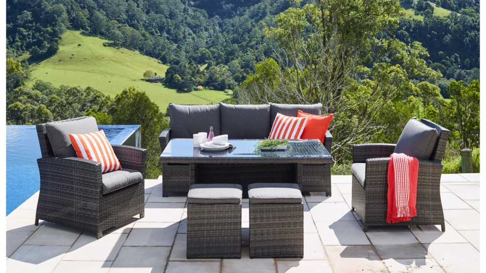 Buy malta 6 piece outdoor lounge dining rectangular for Outdoor furniture harvey norman