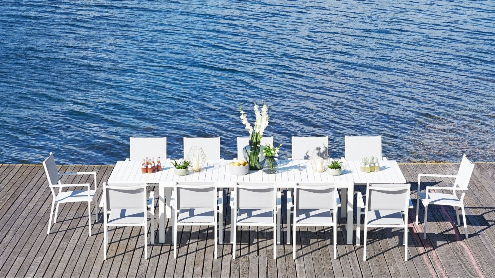 Bon 13-Piece Outdoor White Extension Dining Setting