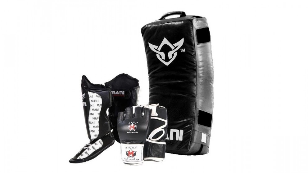 Mani Sports Curved Kick Shield + Medium MMA Gloves + XLarge Shin N Steps