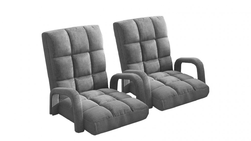 Soga 2X Floor Recliner Lazy Chair with Armrest - Grey