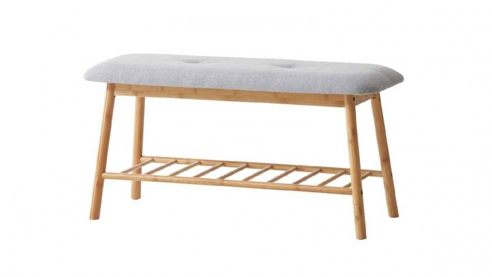 Bamboo Bench with Grey Cushion Seat