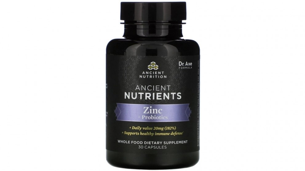 Dr. Axe Ancient Nutrients, Zinc + Probiotics 30 Capsules