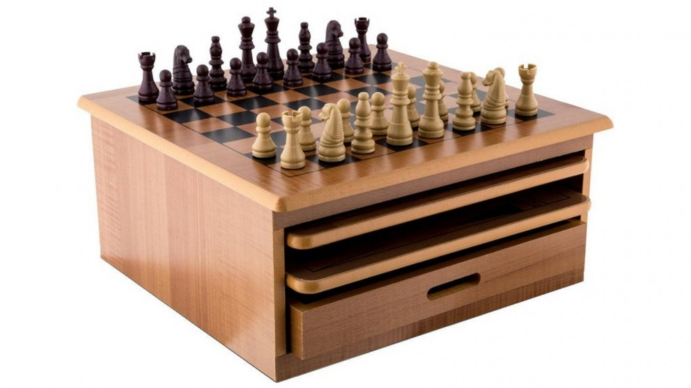 Serrano 10 in 1 Wooden Chess Board Games Slide Out Checkers House Unit Set
