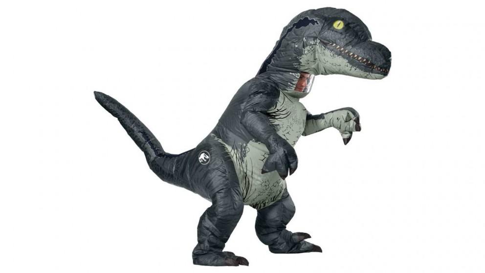 Velociraptor Inflatlable Adult Standard Costume - Blue