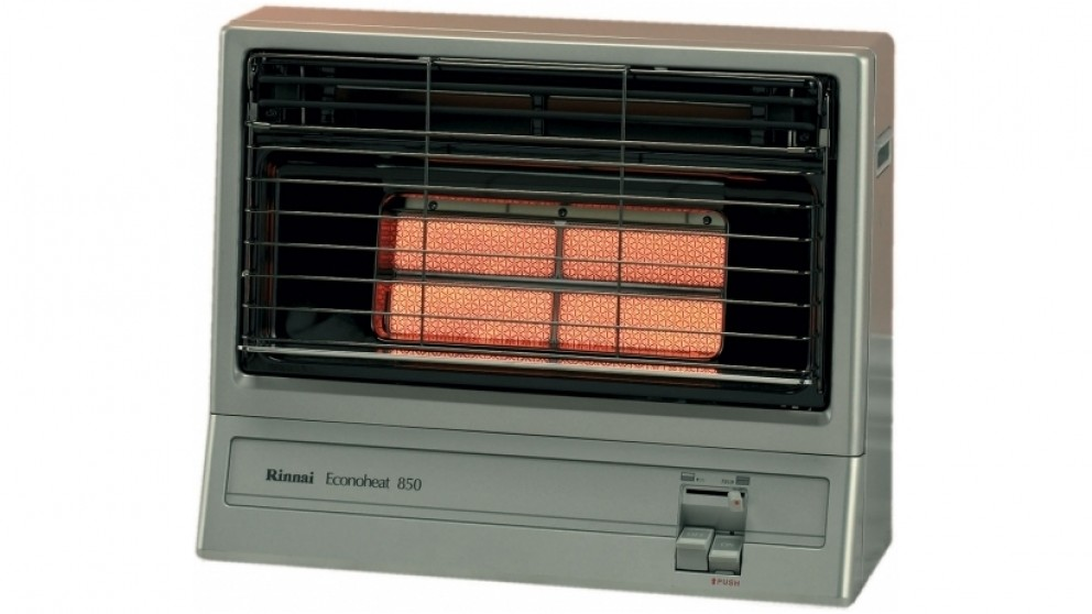 Rinnai Econoheat 850 Unflued Natural Gas Radiant Heater - Platinum Silver