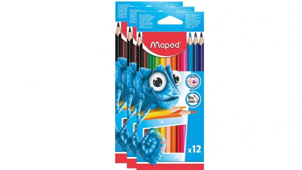 Maped 3x12-Piece Ergo Colour Pencils