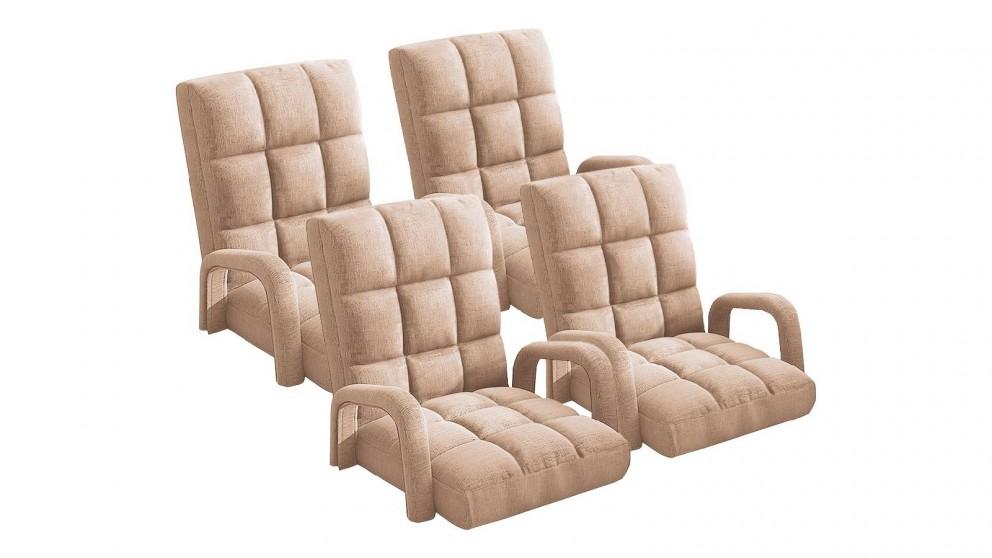 Soga 4X Floor Recliner Lazy Chair with Armrest - Khaki