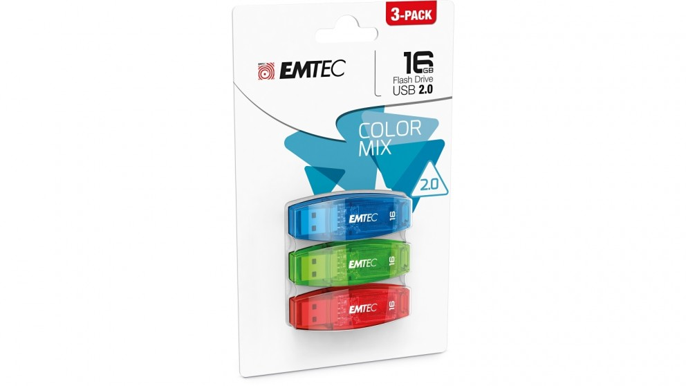 Emtec C410 3-Pack 16GB USB 2.0 Flash Drive