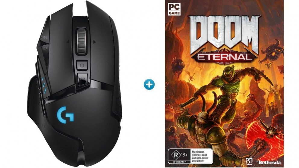 Logitech G502 Wireless Gaming Mouse + Doom Eternal Download Token Bundle