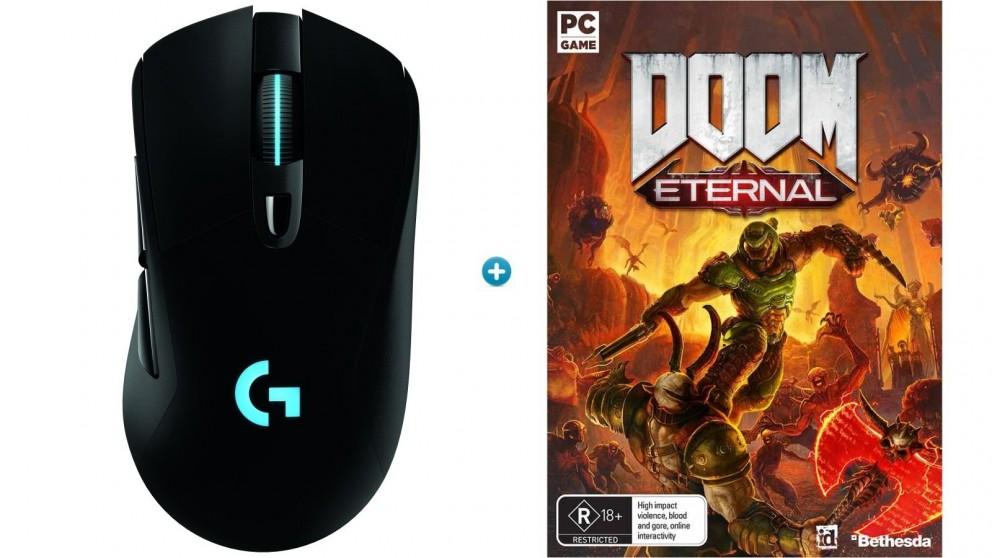 Logitech G703 Wireless Gaming Mouse with HERO Sensor + Doom Eternal Download Token Bundle