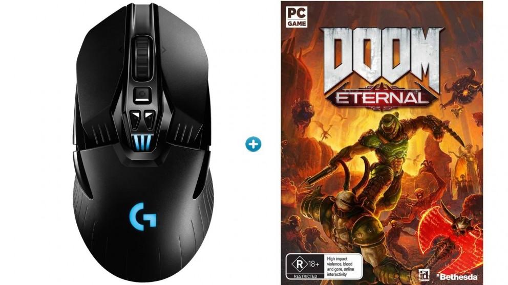 Logitech G903 Wireless Gaming Mouse with HERO Sensor + Doom Eternal Download Token Bundle