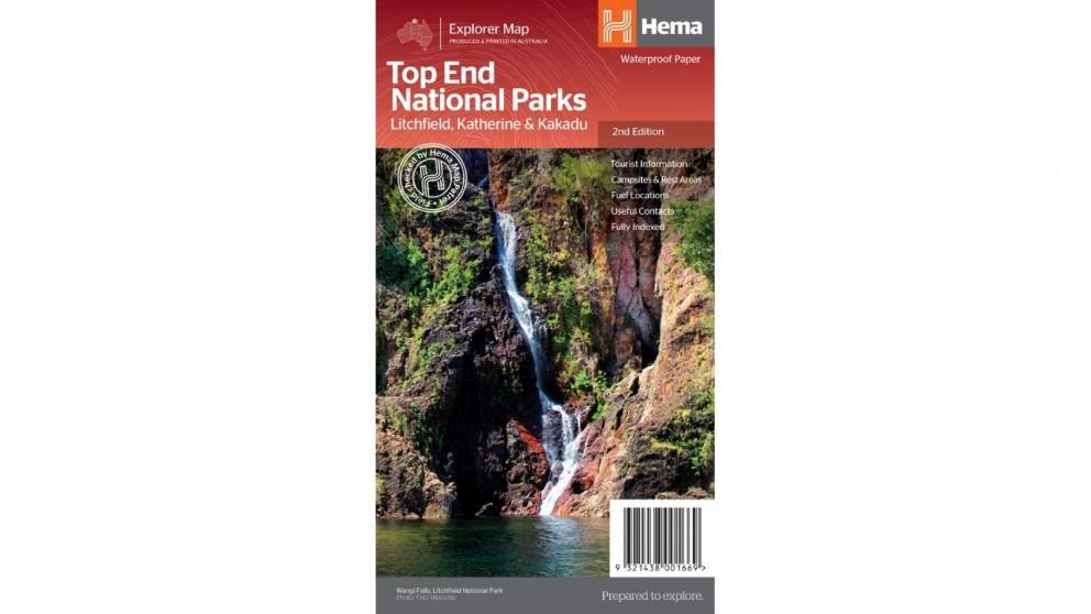 Hema Maps Folded Top End National Parks Map - Litchfield, Katherine & Kakadu