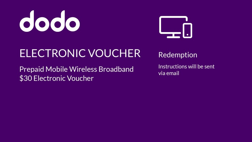 Dodo Prepaid Mobile Wireless Broadband $30 Electronic Voucher
