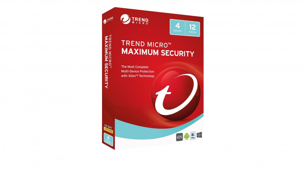 Trend Micro Maximum Security Software Download - 1 Year for 4 Devices