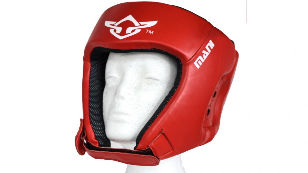 Mani Sports Leather Red Open Face pre-moulded Head Guard