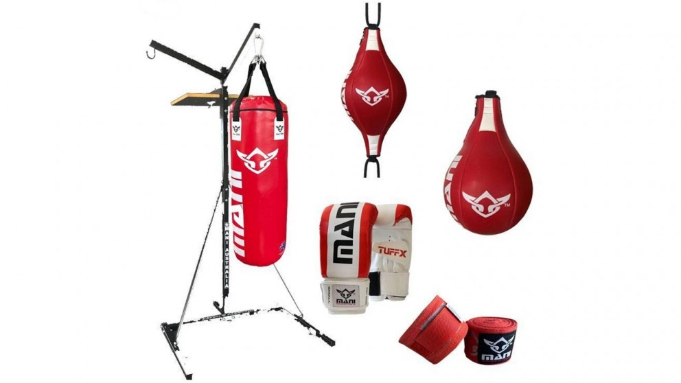 Mani Sports 3 in 1 Bag Stand Combo with Mitts and Wraps
