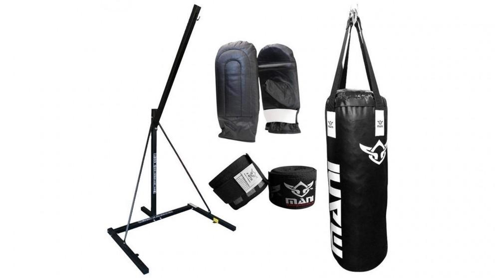 Mani Sports Single Bag Stand, Bag, Mitts and Hand Wrap Combo