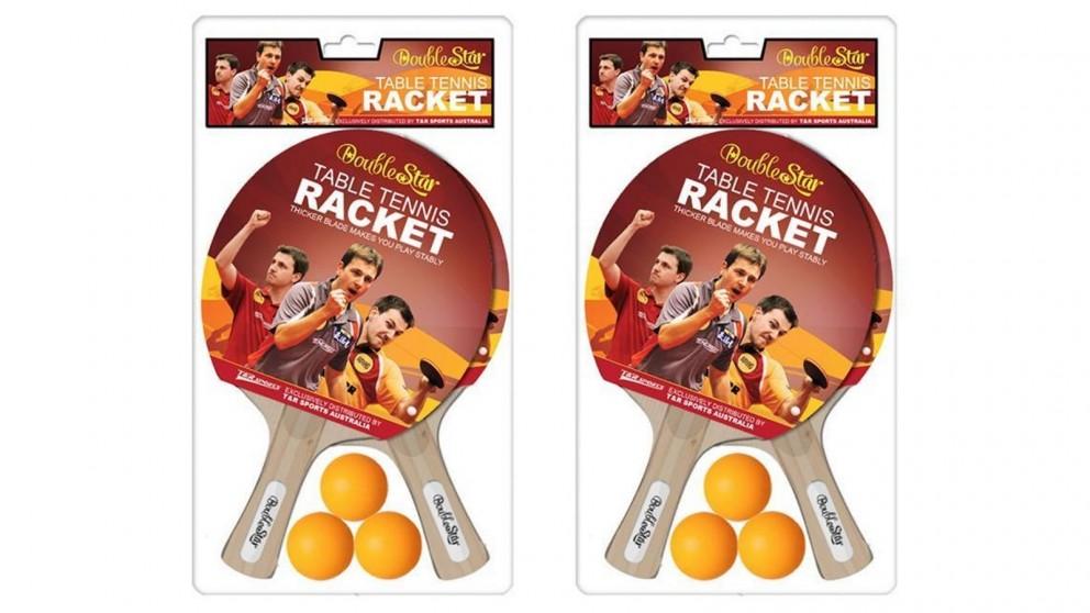 2 Pair Double Star Table Tennis Rackets & Balls Set