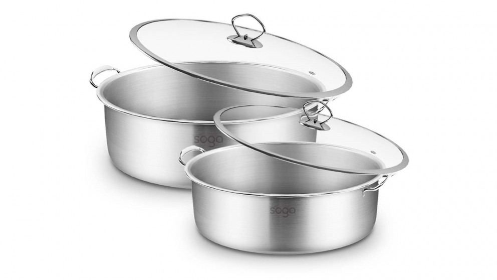 SOGA 26cm and 30cm Casserole With Lid Induction Cookware - Stainless Steel