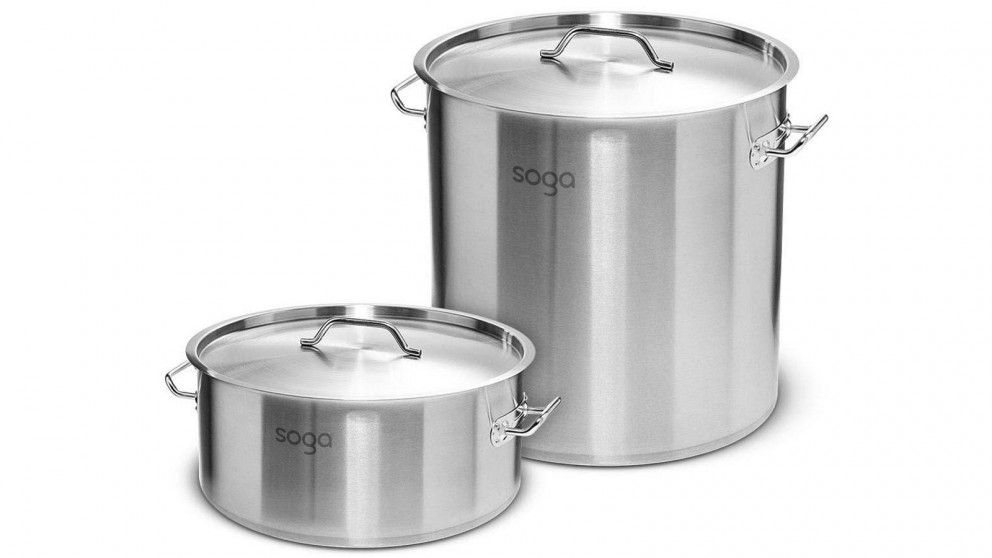 SOGA 17L Wide Stockpot and 50L Tall Top Grade Thick Stainless Steel Stockpot 18/10