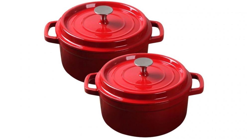SOGA 2x Cast Iron 26cm Enamel Porcelain Stewpot Casserole Stew Cooking Pot With Lid - Red