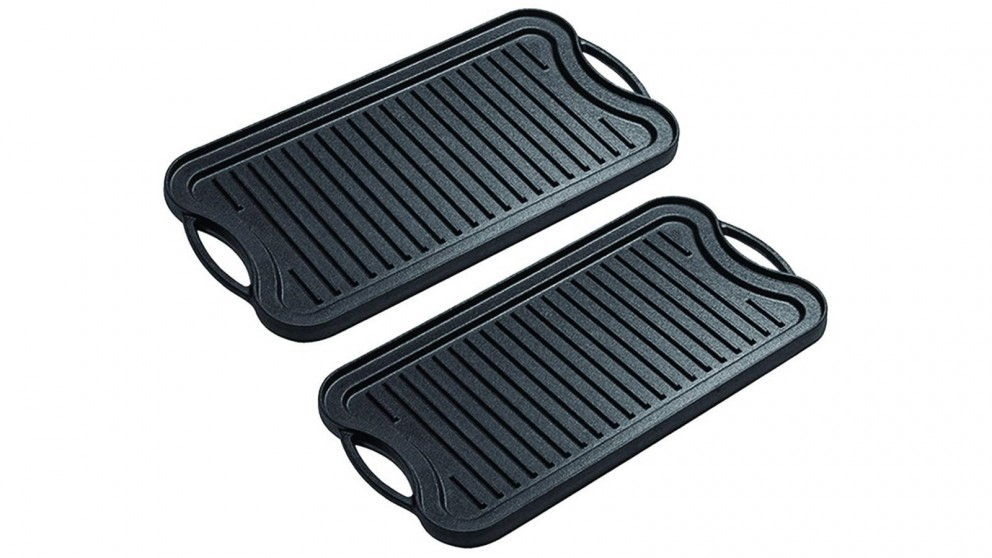 SOGA 2x50.8cm Stovetop Cast Iron Ridged Griddle Hot Plate Grill BBQ Pan