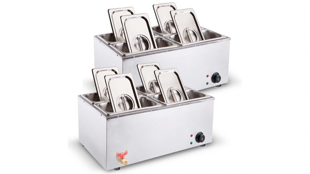 SOGA 2x Stainless Steel 4 x 1/2 GN Pan Electric Bain-Marie Food Warmer with Lid