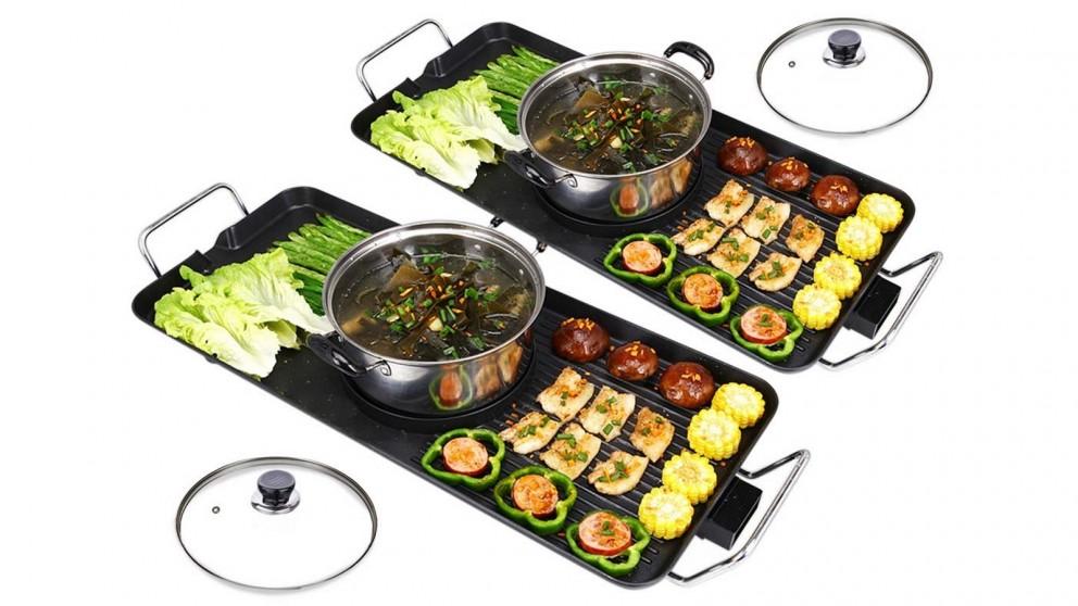 SOGA 2x Electric Steamboat Asian Soup Maker Fondue Teppanyaki Hotpot Grill