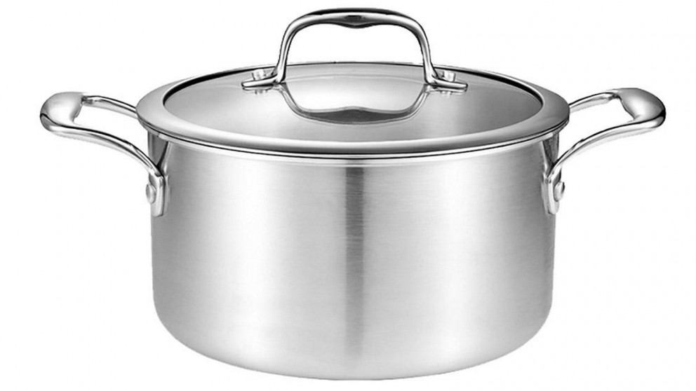 SOGA 28cm Soup Stockpot With Heavy Duty Thick Bottom with Glass Lid - Stainless Steel