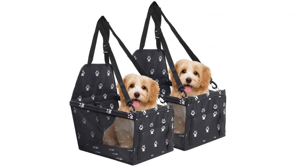 SOGA 2 x Waterproof Pet Booster Car Seat Safety Travel Portable Dog Carrier Bag - Black