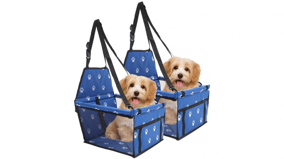 SOGA 2 x Waterproof Pet Booster Car Seat Safety Travel Portable Dog Carrier Bag - Blue