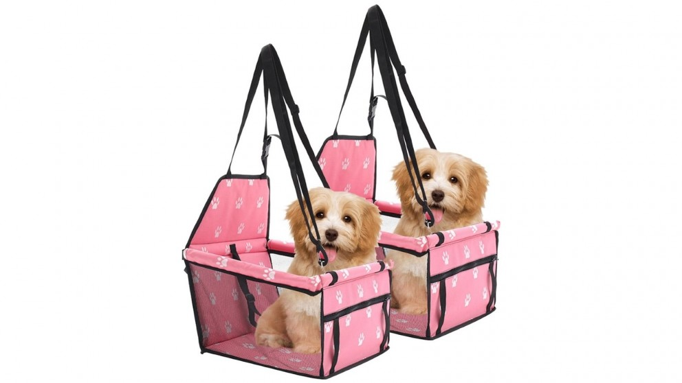 SOGA 2 x Waterproof Pet Booster Car Seat Safety Travel Portable Dog Carrier Bag - Pink