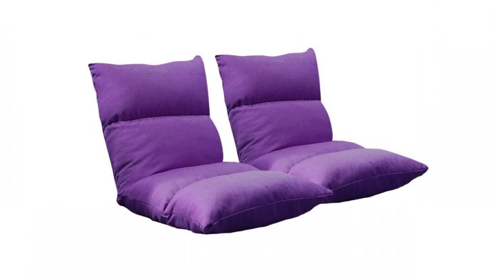 SOGA 2x Floor Recliner Lazy Sofa - Purple