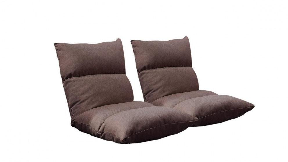SOGA 2x Floor Recliner Lazy Sofa - Coffee