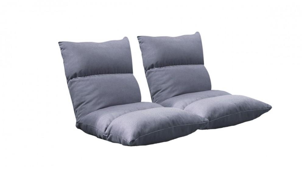 SOGA 2x Floor Recliner Lazy Sofa - Grey