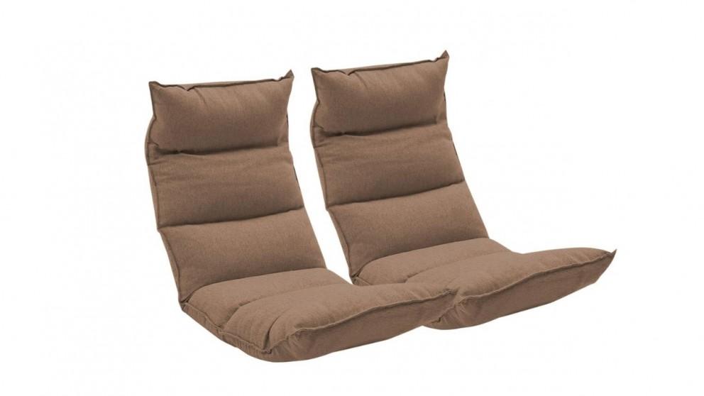 SOGA 2x Floor Recliner Lazy Chair - Khaki