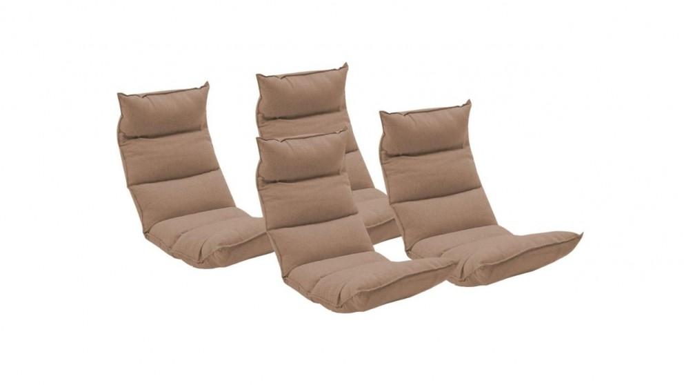 SOGA 4x Floor Recliner Lazy Chair - Khaki