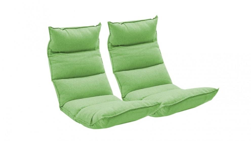 SOGA 2x Floor Recliner Lazy Chair - Green