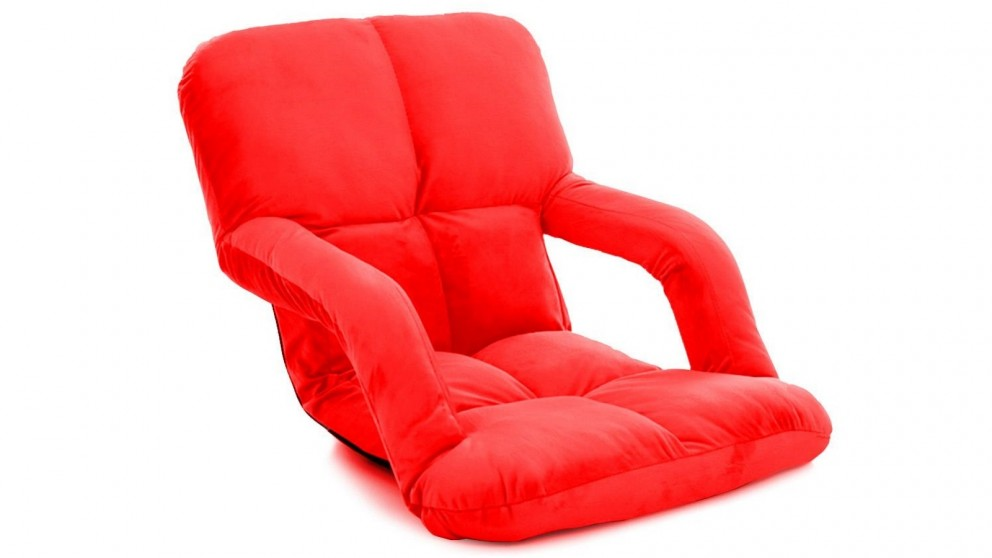 SOGA Foldable Floor Lazy Recliner Chair with Armrest - Red