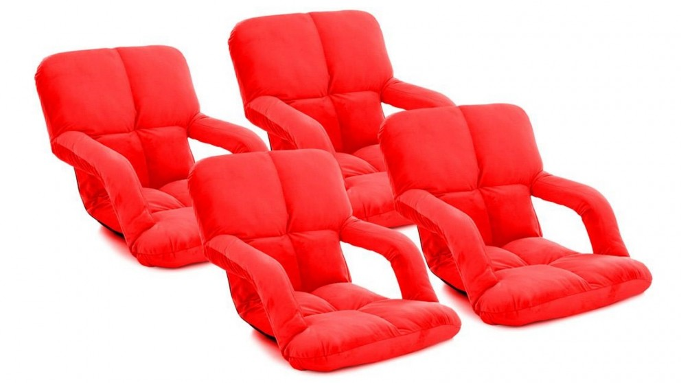 SOGA 4 x Foldable Floor Lazy Recliner Chair with Armrest - Red