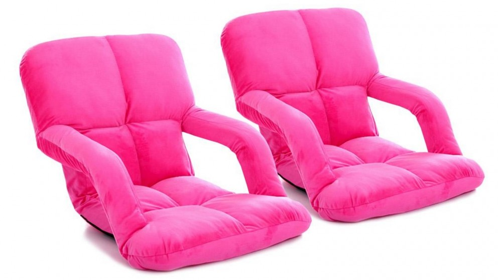 SOGA 2 x Foldable Floor Lazy Recliner Chair with Armrest - Pink