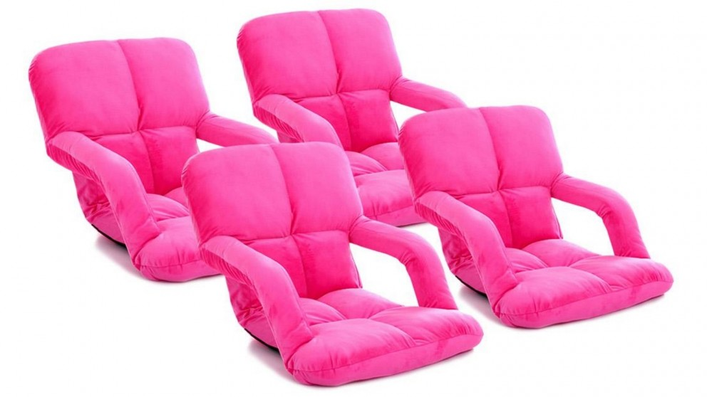 SOGA 4 x Foldable Floor Lazy Recliner Chair with Armrest - Pink