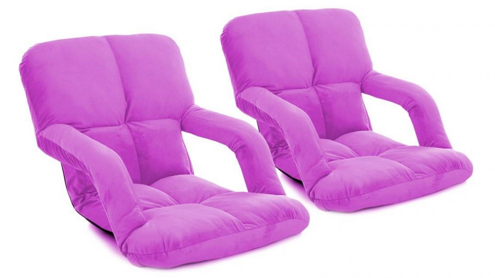 SOGA 2 x Foldable Floor Lazy Recliner Chair with Armrest - Purple