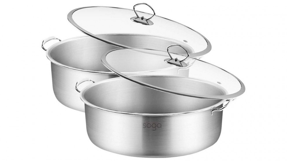 SOGA 2 x 26cm Casserole With Lid Induction Cookware - Stainless Steel