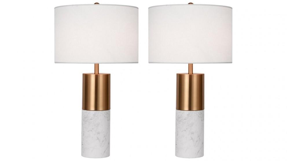 SOGA 2 x 60cm Marble Bedside Desk Table Lamp - White