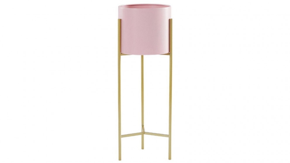SOGA 2 Layer 42cm Metal Plant Stand with Pink Flower Pot Holder - Gold