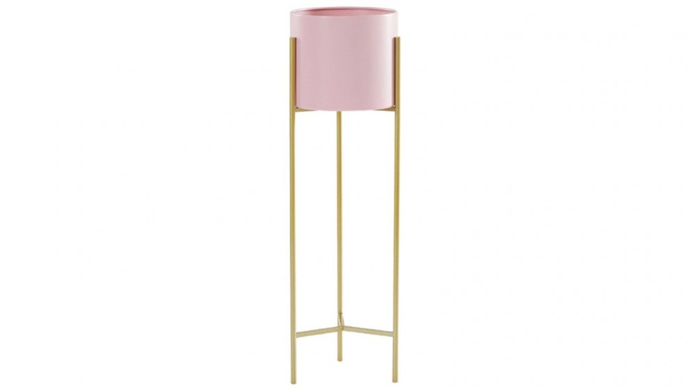 SOGA 2 Layer 60cm Gold Metal Plant Stand with Flower Pot Holder - Pink
