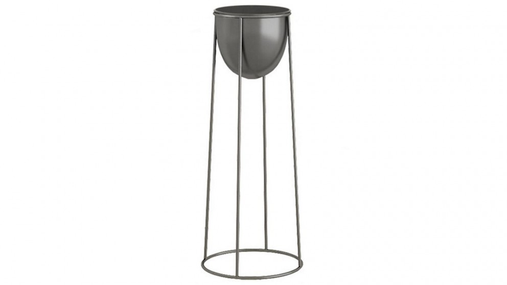 SOGA 70cm Round Wire Metal Plant Stand with Flower Pot Holder - Black